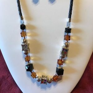 Amber And Black Bead Necklace